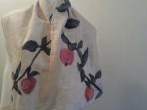 """Apple Orchard"" nuno felted scarf. 100% silk gauze, merino wool, tussah and mulberry silks"
